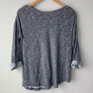LOFT | Gray Roll Tab Sleeve Shirt
